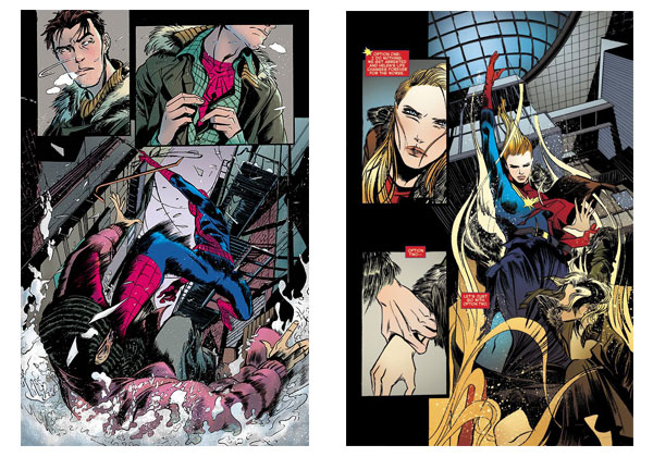 Spider-Man & Captain Marvel pages by Emma Rios