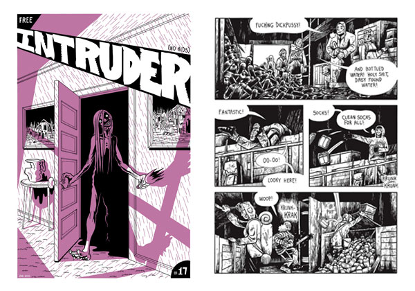 Intruder #17 cover & Black River interior page