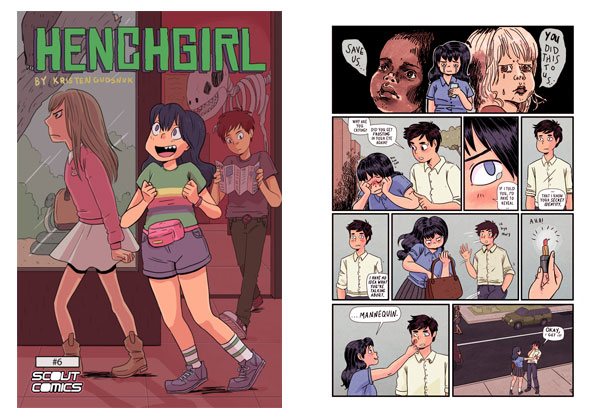 Henchgirl #6 & interior page by Kristen Gudsnuk