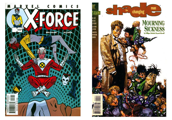 X-Force #117 & Shade the Changing Man #42 covers