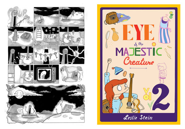 Comics page & Eye of the Majestic Creature Volume 2 cover by Leslie Stein
